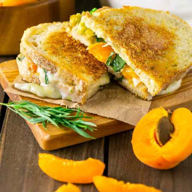Two halves of Brie grilled cheese with slices of apricots around it.