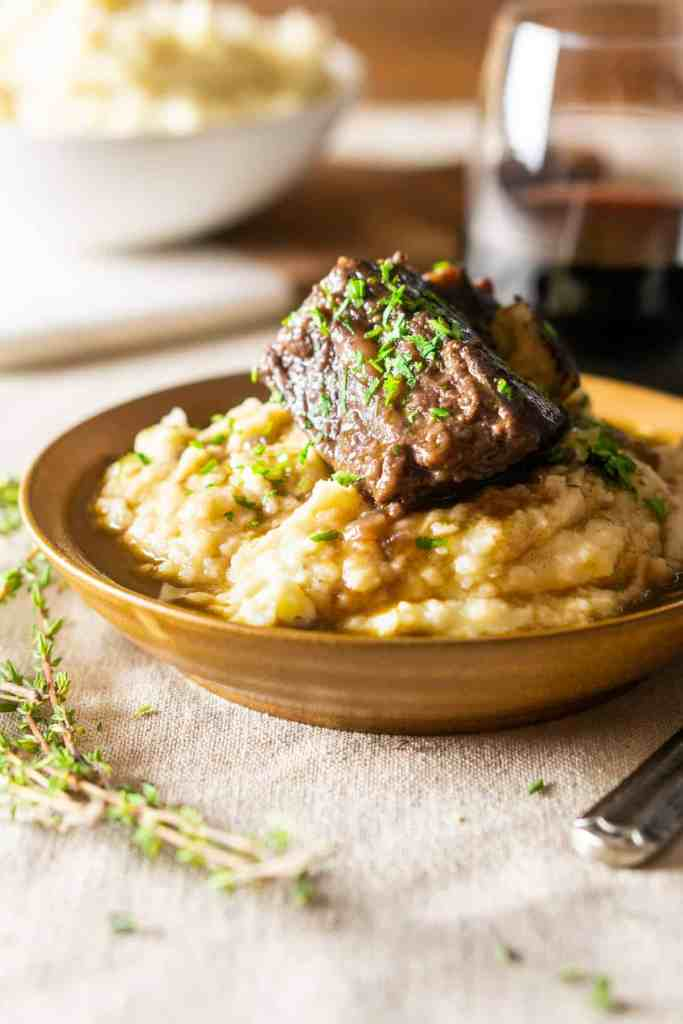 The red wine-braised short ribs on brown butter mashed potatoes.