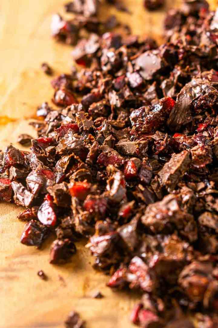 The chocolate set on the chopped cherries for the chocolate-covered cherry cheesecake.