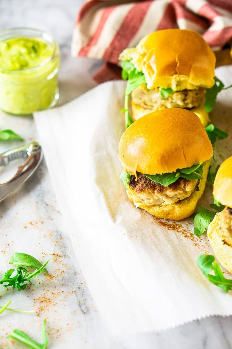 Crab Cake Sliders With Basil-Avocado Aioli