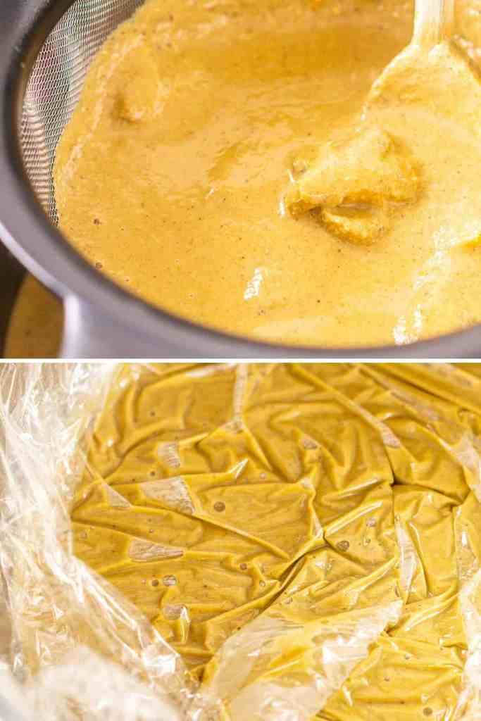A collage of the process of straining the custard and then covering it with plastic wrap in a large mixing bowl.