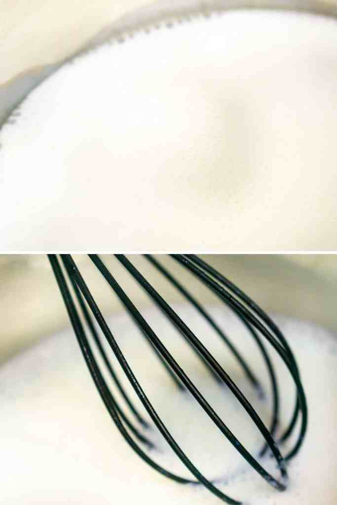 A collage of steaming the milk and then whisking until it's frothy.