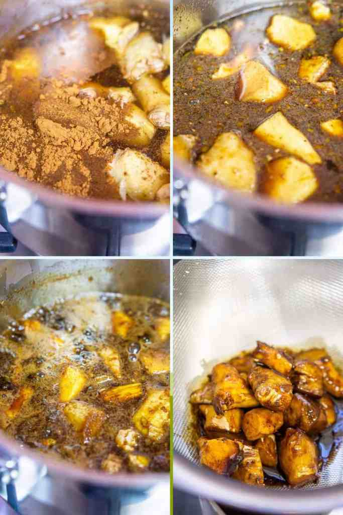A collage showing the process of how to make the gingerbread simple syrup, from simmering to straining.