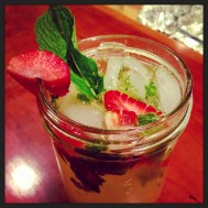 Moscow mule with gin, strawberries & mint.