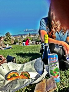 Sandwiches & drinks at Dolores Park.