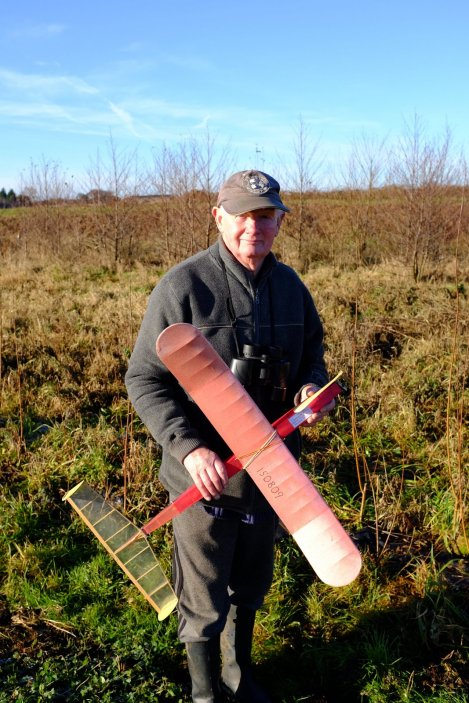 Glider maker Doug Barber retrieves his vintage model glider. Doug used to fly Shackleton's in the RAF including the one that is now in the Manchester Museum of Science and Industry