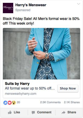 Facebook Men's Fashion Ad Example
