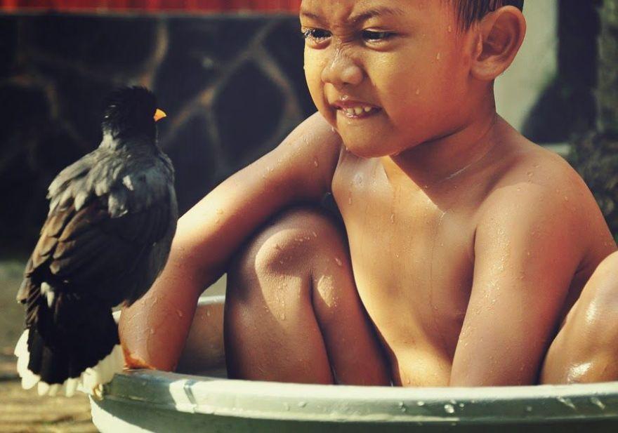 Revo dan Bulbul mandi bersama (ida-nurlaila.blogspot.co.id)