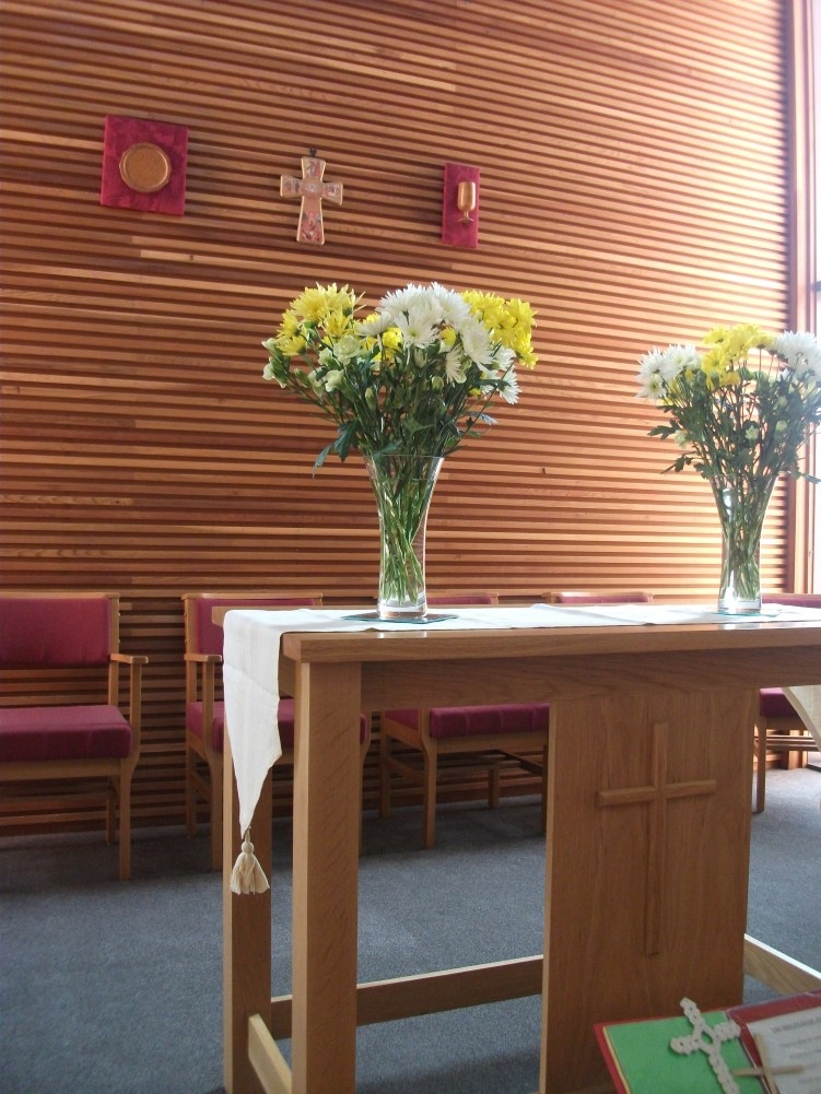 Flowers on the alter table