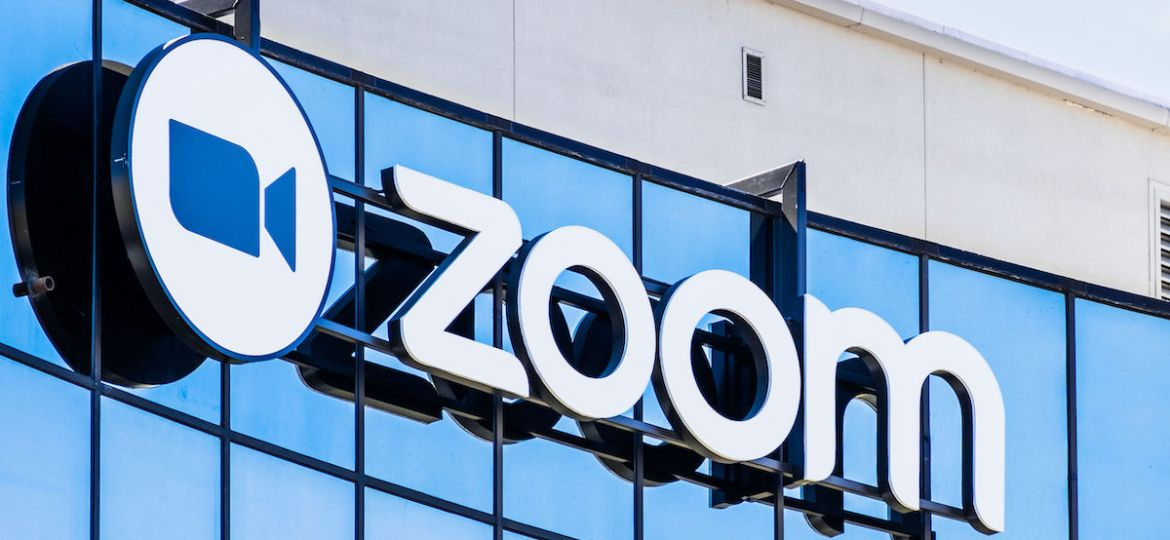 September 3, 2019 San Jose / CA / USA - Close up of Zoom sign at their HQ in Silicon Valley; Zoom Video Communications is a company that provides remote conferencing services using cloud computing