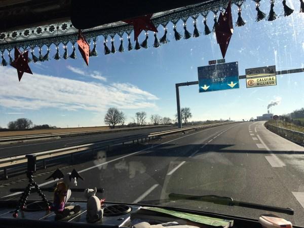 Auf der Autobahn kurz vor Lyon