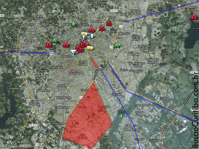 Mapa de contingência contra ataque de zumbis