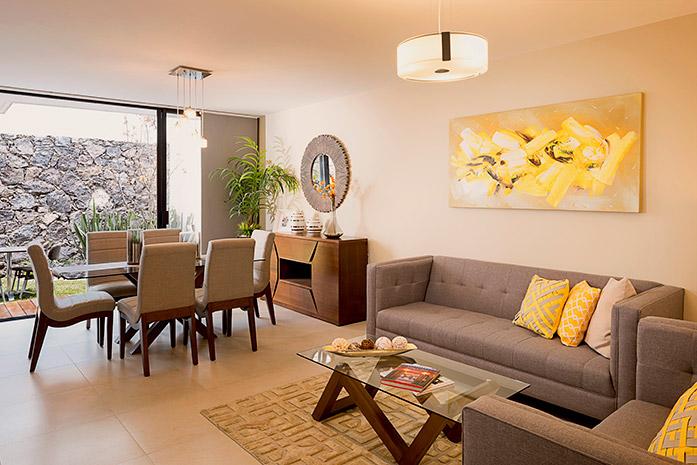 Casas en Querétaro - Sala y comedor - Antalia Residencial