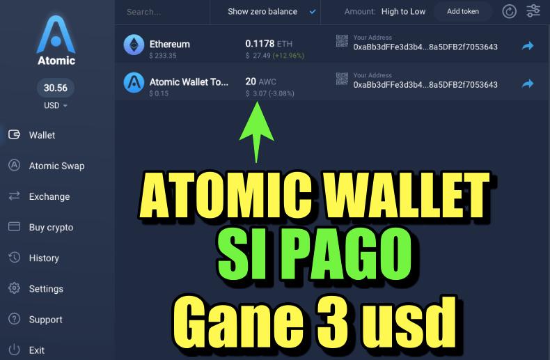 En este momento estás viendo Airdrop Atomic Wallet GANE 3 USD… SI PAGO !!
