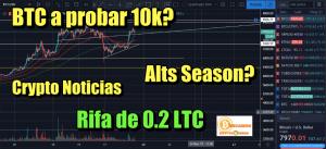 Lee más sobre el artículo Bitcoin a probar 10k? Rifa 0.2 LTC + AltSeason? + Crypto Noticias