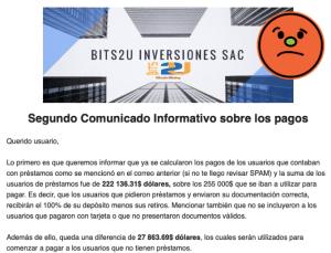 Lee más sobre el artículo BITS2U Comunicado 2 sobre el pago de 255k usd