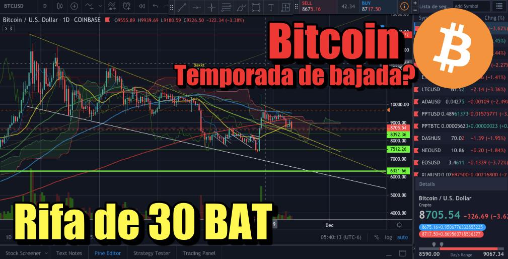 En este momento estás viendo Bitcoin proximas semanas de bajada? Rifa de 30 BAT