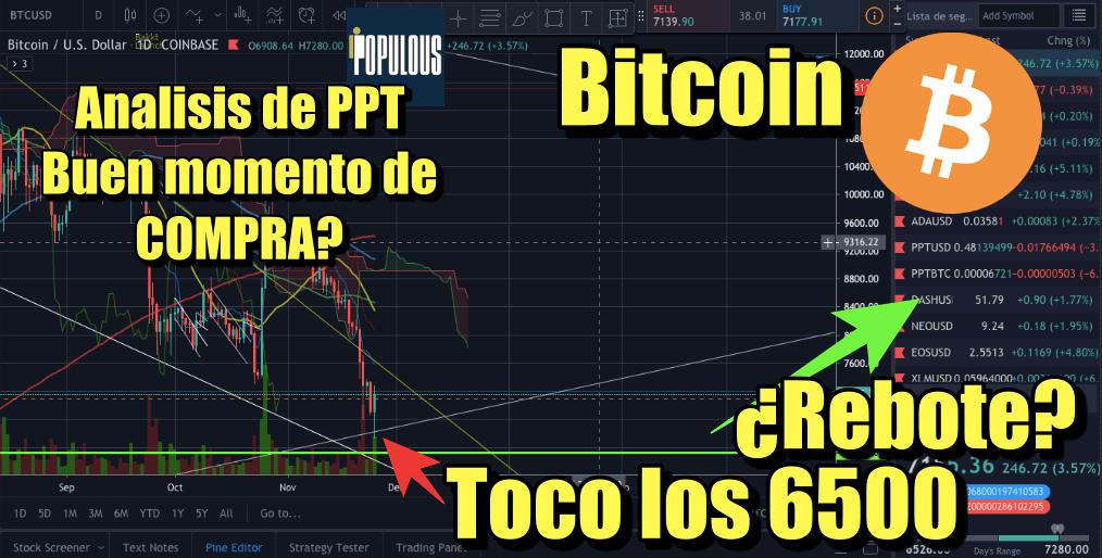 En este momento estás viendo Bitcoin toco los 6500 y es buen momento de comprar PPT??