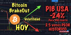 Lee más sobre el artículo Bitcoin viene volatilidad HOY + USA PIB bajara 24% a mitad de año SIN PRECEDENTES