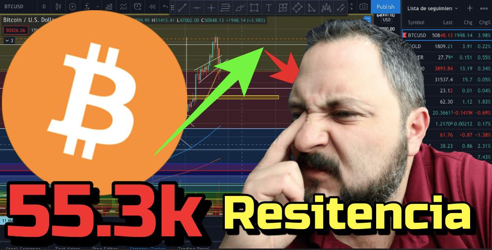 En este momento estás viendo ⛔️ CUIDADO ➤  Resistencia en los 55.3k + 21 Altcooins y Rifa!!!