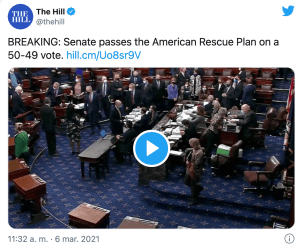 Lee más sobre el artículo El Senado aprueba un paquete de estímulo de $ 1,9 billones