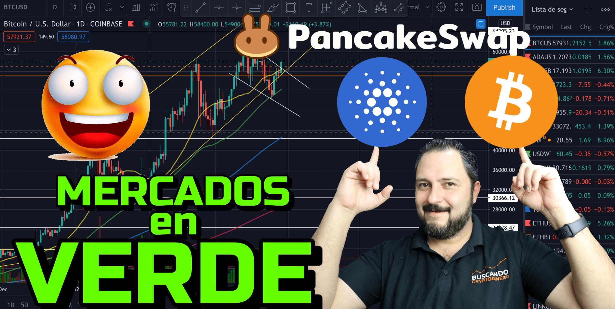 En este momento estás viendo Bitcoin + Cardano + Cake = Mercados en verde + 21 Monedas y Rifa !!!