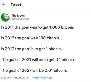 Lee más sobre el artículo Target 2019 = 1 btc