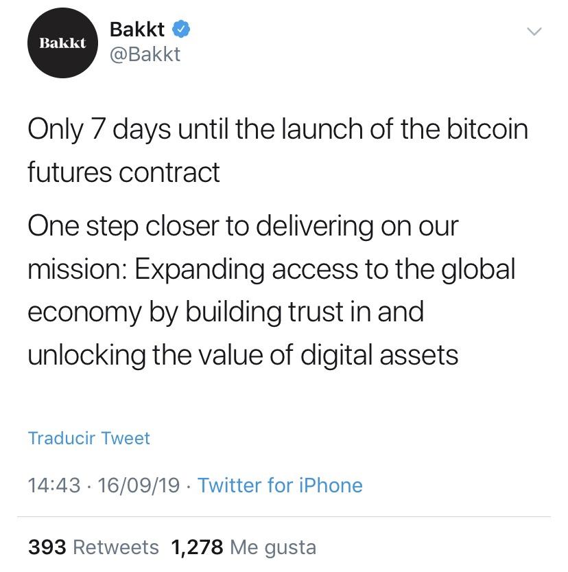 En este momento estás viendo A solo 7 dias de el lanzamiento de Bakkt