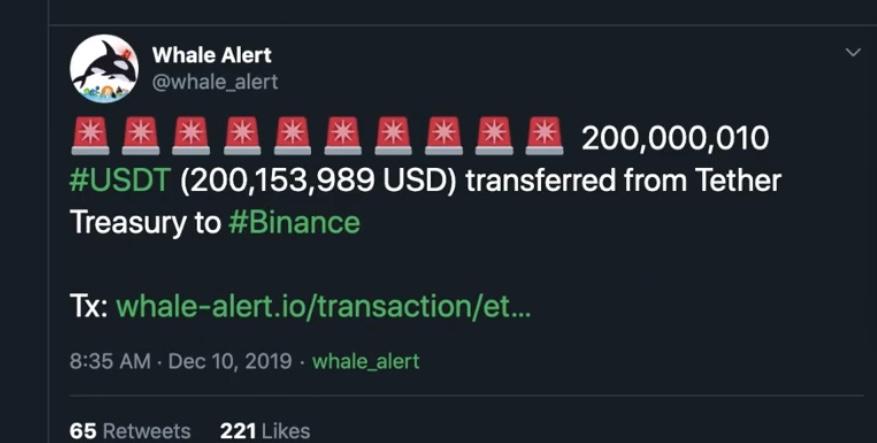 En este momento estás viendo 200,153,989 usd en USDT se movieron a Binance