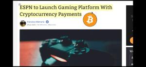 Lee más sobre el artículo ESPN a sacar plataforma de juegos con pagos en Crypto!!