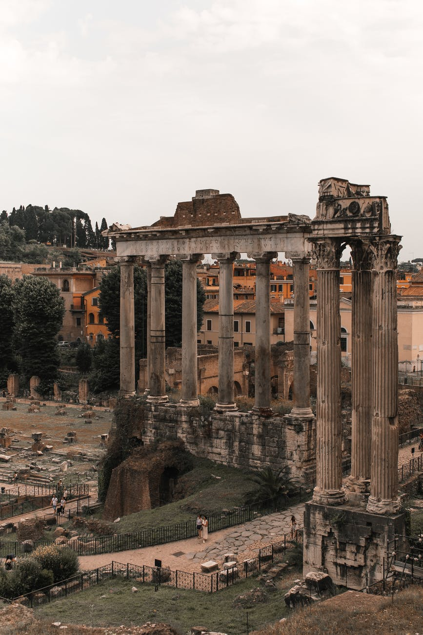 ruins of ancient temple in european city