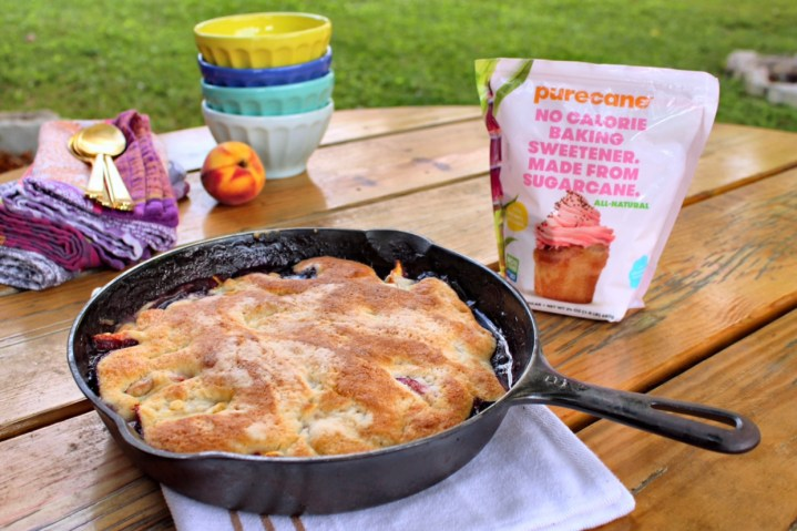 Guilt-Free Peach Blueberry Skillet Cobbler