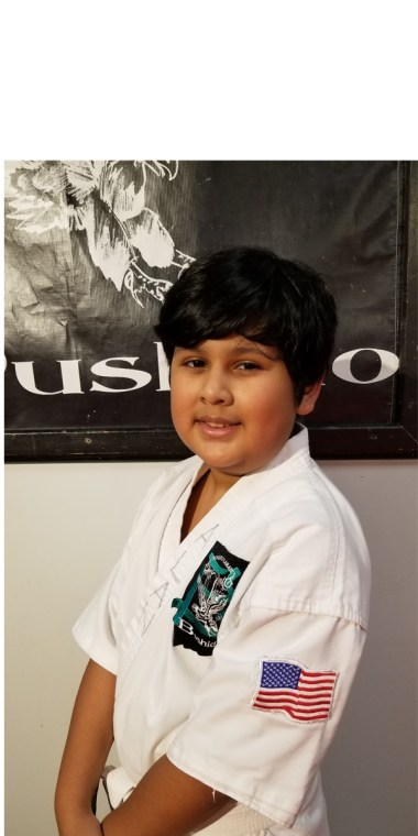 picture of a boy in a karate uniform