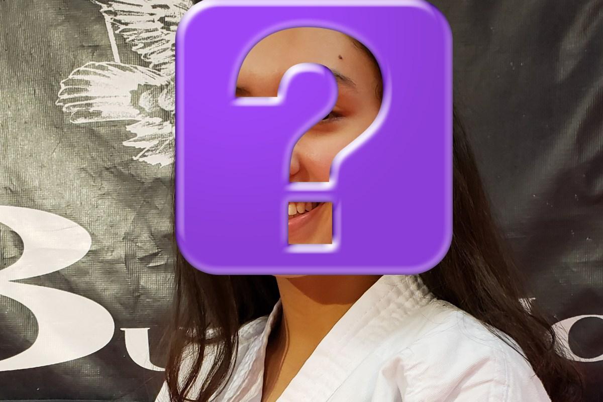 pre-teen karate girl with hidden face