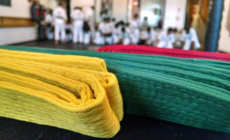 karate belts with blurred background
