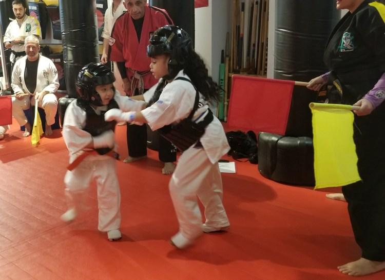 little kids karate sparring