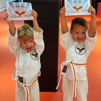 toddler graduates from karate class