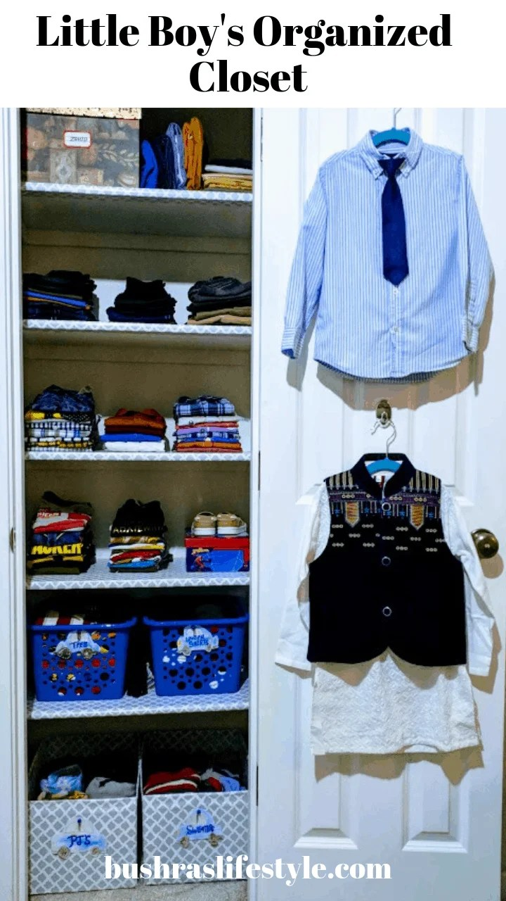 Little boy's organized closet