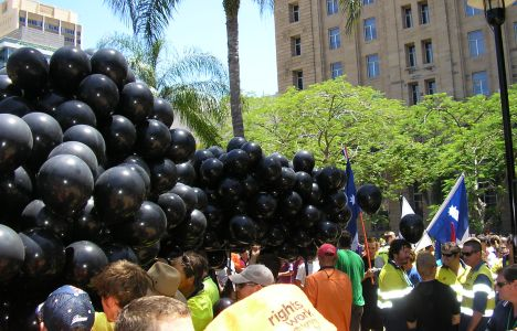 Black Balloons for 18 deaths on Construction Sites this year