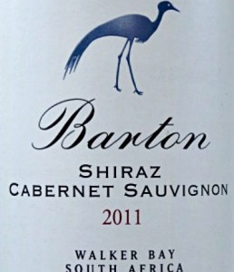 Barton Estate Shiraz/Cabernet 2011; stylish full-bodied Shiraz blend from cool climate South Africa