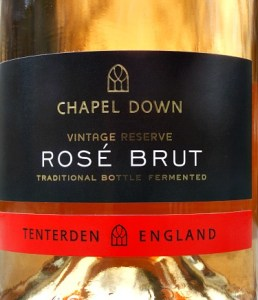 Chapel Down Rose Brut, silky English Sparkling Rose made from Pinot Noir. Grapes grown in Sussex and Kent. Terrific value from Bush Vines