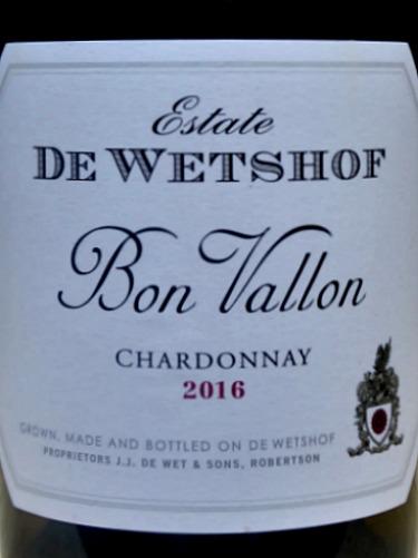 De Wetshof Bon Vallon Chardonnay 2016; terrific unocaked full flavoured, elegant Chardonnay. De Wetshof top Chardonnay producer in Robertson, South Africa