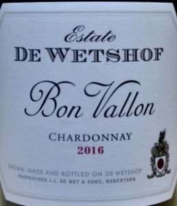 De Wetshof Bon Vallon Chardonnay 2016; terrific unocaked full flavoured, elegant Chardonnay. De Wetshof top Chardonnay producer in Robertson, South Africa