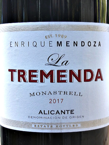 La Tremenda Monastrell 2017 from Enrique Mendoza the top producer in DO Alicante, Spain. This is a terrific value wine with great intensity. Aromas of black cherries. hints of mediterranean herbs, spice, toast and cocoa. Rich cherry fruit flavours and nice savoury, ripe tannins; 6 months nice oak touch. It has a lovely silky texture and very good length.
