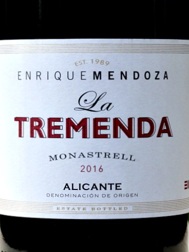 La Tremenda Monastrell 2016 stunning wine from top DO Alicante producer Enrique Mendoza. Aromas of cherries and mediterranean herbs, intense cherry fruit flavours, ripe tannins and great length. Must try wine.