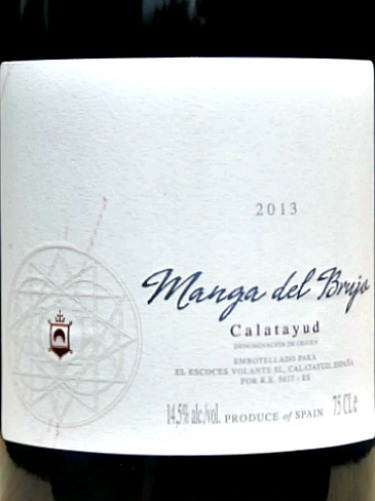 Manga del Brujo 2013; full bodied, complex old vine garnacha blended with Syrah, Tempranillo and Monastrell. Like a Priorat at half the price. Made by Norrel Robertson MW; brilliant red from Calatayud, Aragon, Spain.