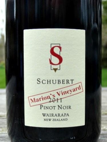 Schubert Marions Vineyard Pinot Noir 2011; award winning Top New Zealand Pinot Noir from Martinborough