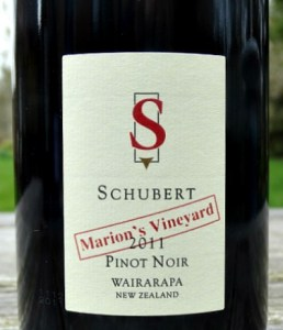Schubert Marions Vineyard Pinot Noir 2011; award winning Top New Zealand Pinot Noir from Martinborough