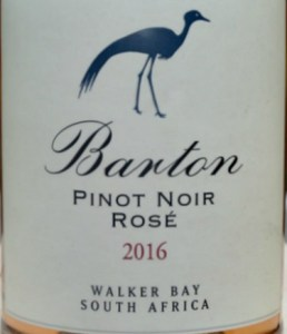 Barton Estate Pinot Noir Rose 2016; terrific pale Rose with bags of strawberry flavours; a smooth, elegant, dry rose from Walker Bay, South Africa; excellent value for this quality. IWSC Silver medal
