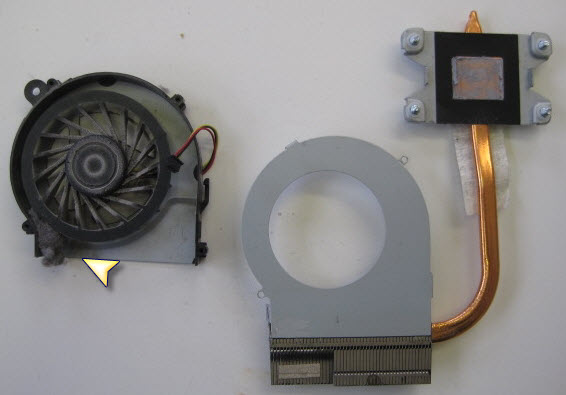Here we can see the build up of dust that stopped the fan from spinning